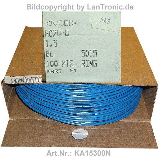 kabel h07v u 1 5mm2 blau rolle 100m lantronic et. Black Bedroom Furniture Sets. Home Design Ideas